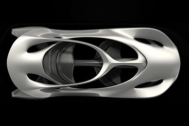 Top view of the Mercedes 'Aesthetic 125' sculpture